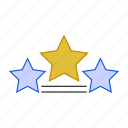 award, ratings, star, three stars icon