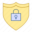 lock, privacy, protection, security, shield icon