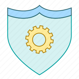 cog, protection, security, settings, shield, wheel icon
