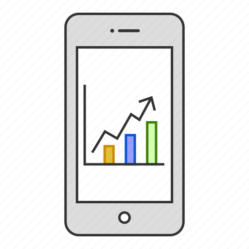 analytics, chart, device, graph, growth, mobile, phone icon