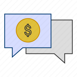 business, communication, currency, dollar, money, talk icon