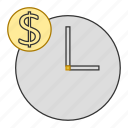 clock, dollar, money, schedule, time icon