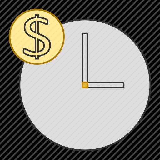 clock, dollar, money, schedule, time icon