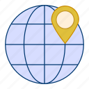 globe, location, map, pin, pointer, world icon