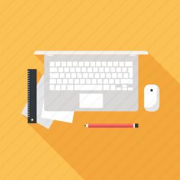 computer, desk, job, laptop, office, table, work icon