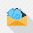 banking, email, letter, message, money, payment, transaction icon