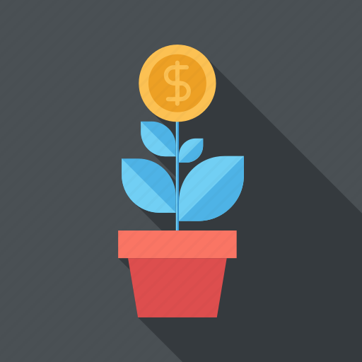 dollar, expand, flower, growth, investment, nature, plant icon