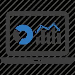 analytics, business progress, computer, monitoring, report, screen, statistics icon