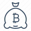 bitcoin, budget, business, digital currency, investment, money bag, online money icon