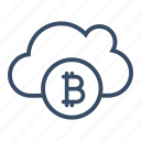 bitcoin, bitcoin cloud, cloud currency, cyber, network, send, transfer icon