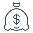 bank, budget, finance, interest, investment, money bag icon