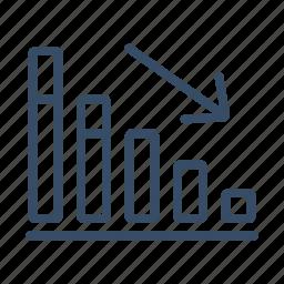 chart, decline, decrease, down, drop, fall, recession icon