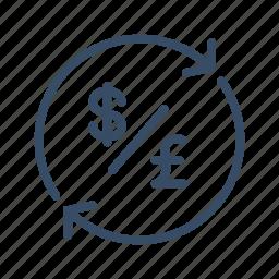 conversion, dollar, exchange, finance, money, pound, transfer icon
