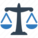 balance, court, crime, government, justice, law, measure, measurement, scale, scales, weight icon