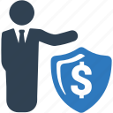 business, dollar, insurance, money, protected, security, shield icon