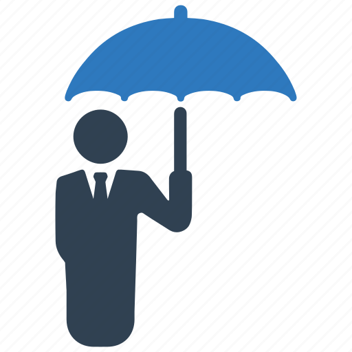 business insurance, businessman, protection, secure, security, shield, umbrella icon