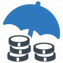 business insurance, investments insurance, money insurance, umbrella icon