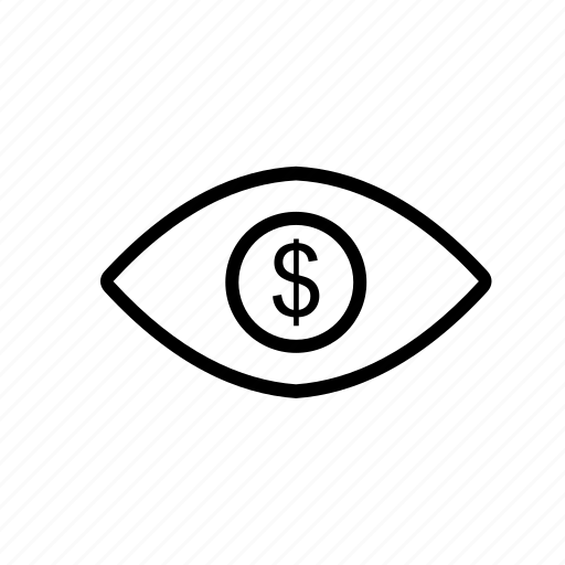 dollar, eye, finance, vision icon