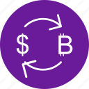 bitcoin, currency, dollar, exchange icon
