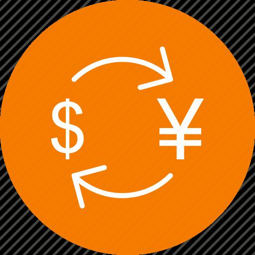 convert, dollar, exchange, yen icon