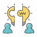 brainstorm, brainstorming, collaboration, creativity, strategy, teamwork, together icon