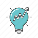 creative, creativity, graph, idea, innovation, lightbulb, solution icon