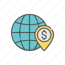 global, globalization, international, investment, location, profit, world icon