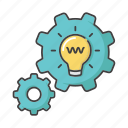 brainstorm, business, gear, innovation, lightbulb, process, thinking icon