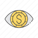 eyes, focus, future, money, profit, sight, vision icon