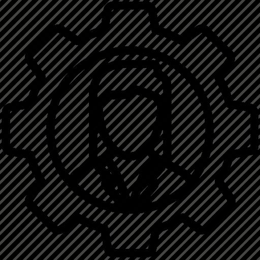 admin, gear, setting, user icon, woman icon