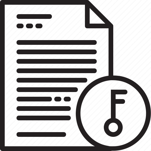 document, file, key, line, open, paper icon