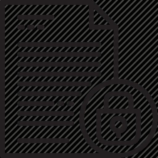 document, file, line, lock, paper, secret icon