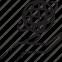 control, globe, hand, line, world icon