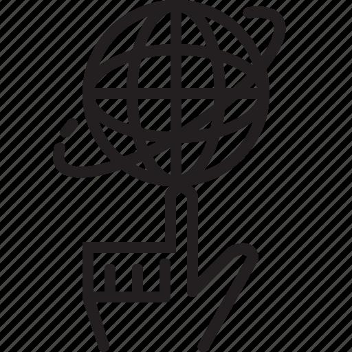 control, finger, globe, hand, line, rotate, world icon