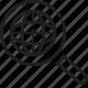 control, globe, line, magnify, search, world icon