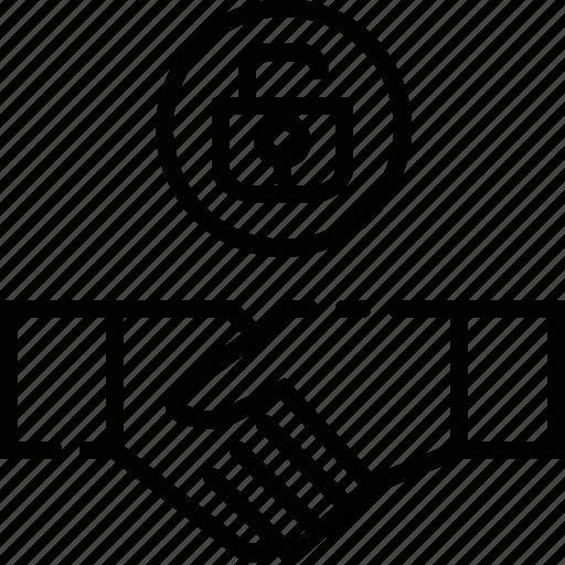business, hand, locker, partner, shaking, support, unlock icon