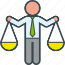 analysis, balance, business, decision, justice, office, scale icon