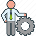administration, boss, business, businessman, gear, man, manager icon