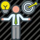 business, compare, idea, man, objective, presentation, target