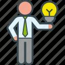 bulb, business, clever, good, idea, man, presentation icon