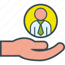 employee, hand, hiring, management, people, recruitment, resources icon