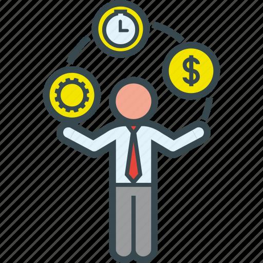 business, juggle, juggler, man, money, time, work icon