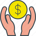 care, finance, hands, job, money, protection icon