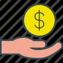 donation, finance, hand, job, money, salary, wage