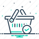 basket, buying, check, checked, commerce, grocery, merchandise icon