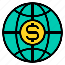 business, finance, management, marketing, money, world icon