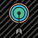 aim, arrows, direction, goal, hit, success, target