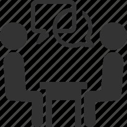 business, businessman, conversation, employment, interview, meeting, speech bubble, talk, teamwork icon