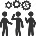 business strategy, gear, solution, teamwork icon