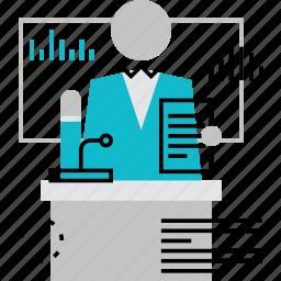 conference, lecture, mentor, press, speaker, speech, teacher icon